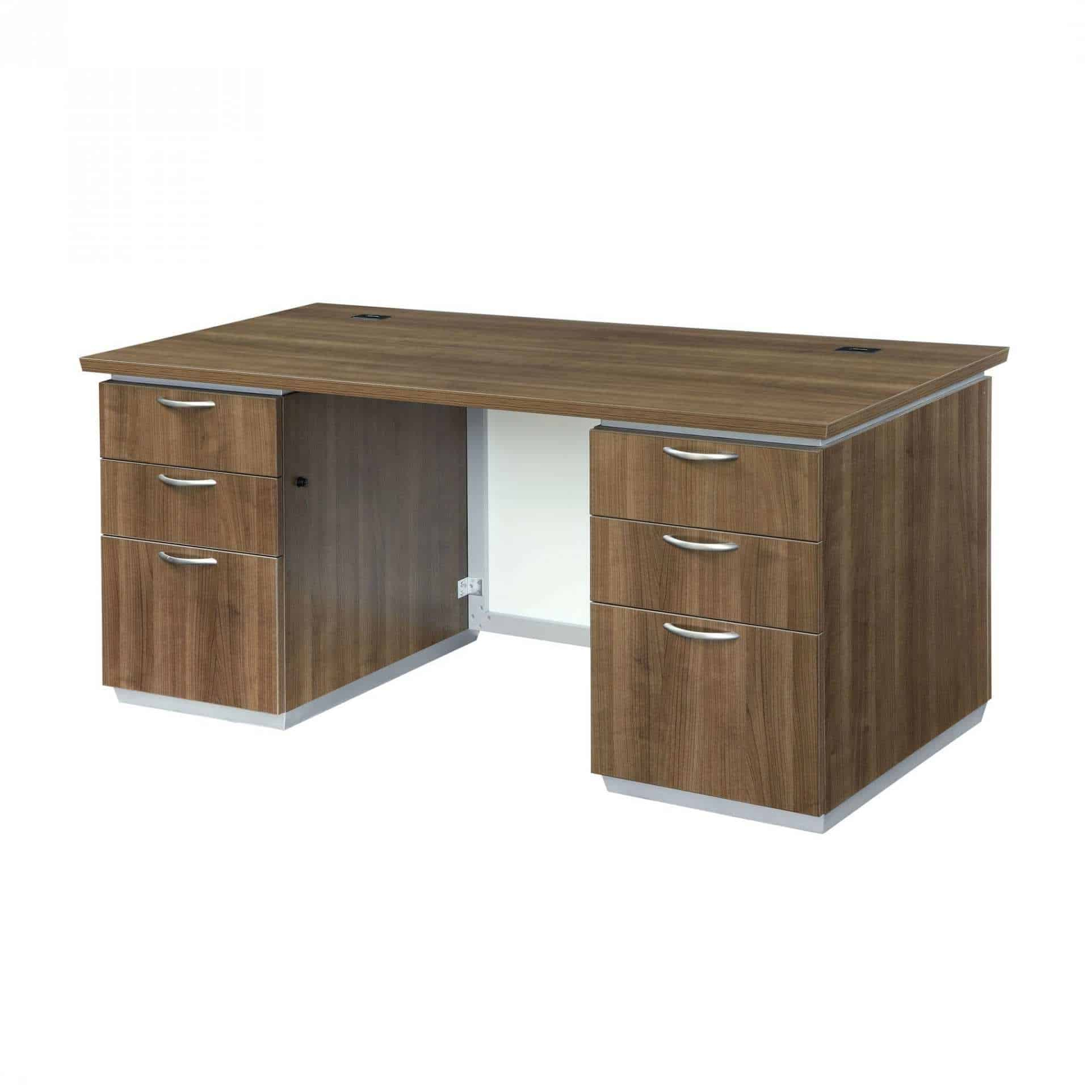 EXECUTIVE DESK WITH WHITE GLASS MODESTY PANEL - Used Office ...